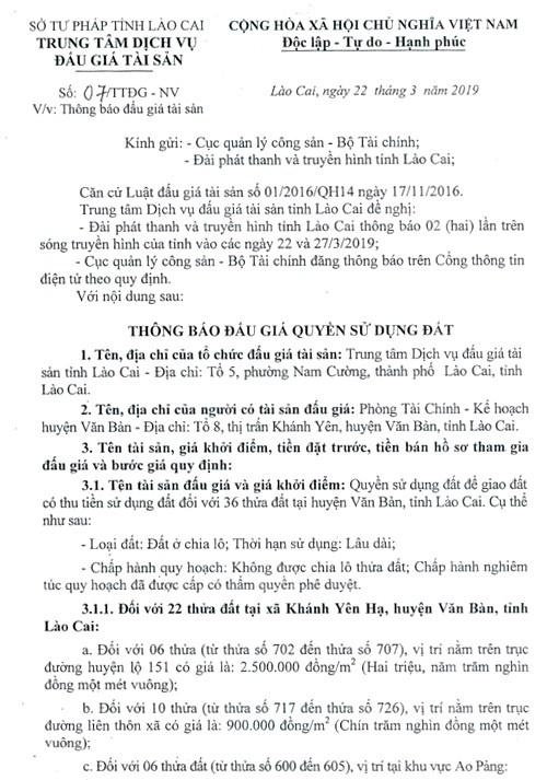 Ngày 12/4/2019, đấu giá quyền sử dụng đất tại huyện Văn Bàn, tỉnh Lào Cai - ảnh 1
