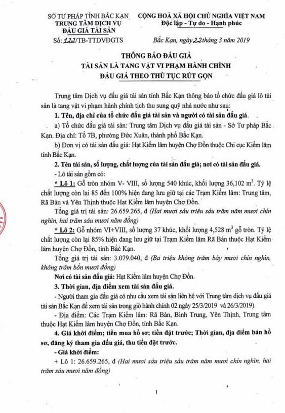 Ngày 1/4/2019, đấu giá gỗ tròn tại tỉnh Bắc Kạn - ảnh 1