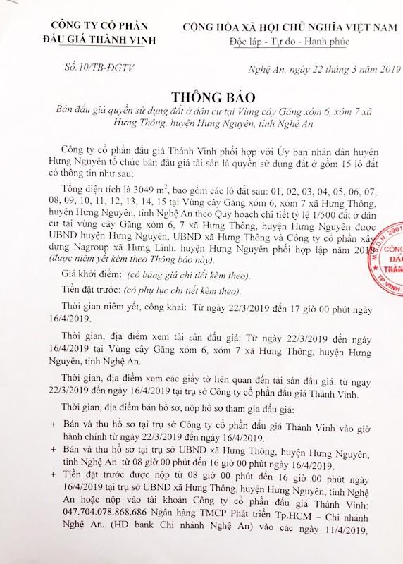 Ngày 19/4/2019, đấu giá quyền sử dụng đất tại huyện Hưng Nguyên, tỉnh Nghệ An - ảnh 1