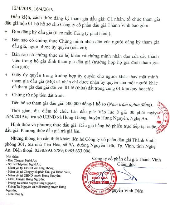 Ngày 19/4/2019, đấu giá quyền sử dụng đất tại huyện Hưng Nguyên, tỉnh Nghệ An - ảnh 2