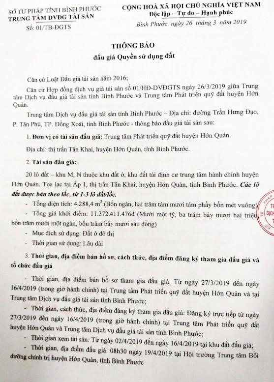 Ngày 19/4/2019, đấu giá quyền sử dụng 20 lô đất tại huyện Hớn Quảng, tỉnh Bình Phước - ảnh 1