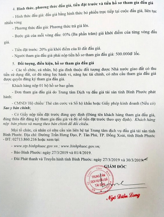 Ngày 19/4/2019, đấu giá quyền sử dụng 20 lô đất tại huyện Hớn Quảng, tỉnh Bình Phước - ảnh 2