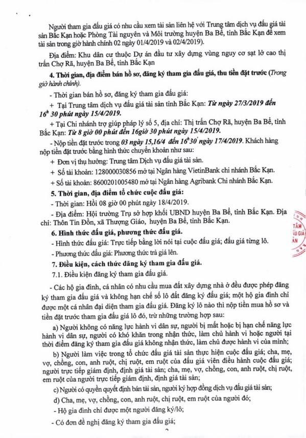 Ngày 18/4/2019, đấu giá quyền sử dụng 6 lô đất tại huyện Ba Bể, tỉnh Bắc Kạn - ảnh 2