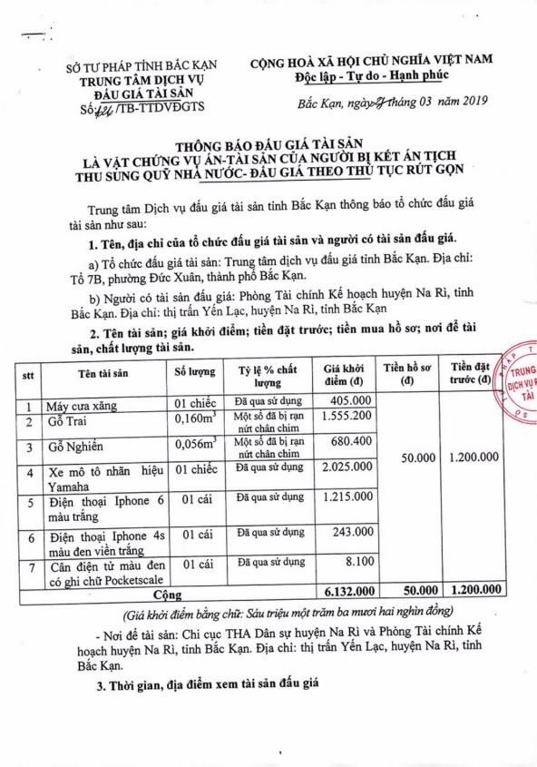Ngày 5/4/2019, đấu giá tài sản tịch thu sung quỹ nhà nước tại tỉnh Bắc Kạn - ảnh 1