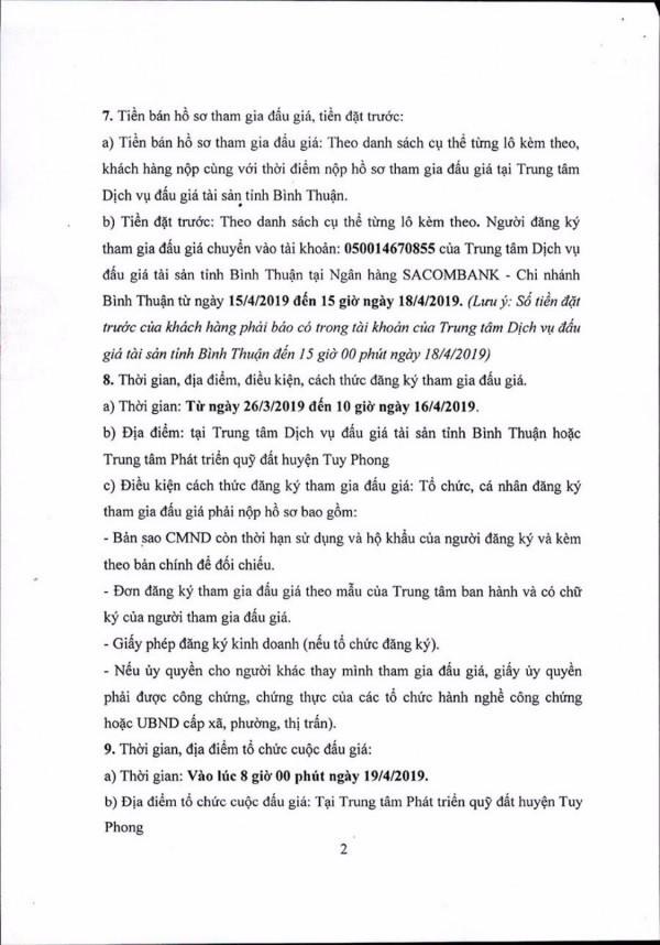 Ngày 19/4/2019, đấu giá quyền sử dụng 111 lô đất tại huyện Tuy Phong, tỉnh Bình Thuận - ảnh 2