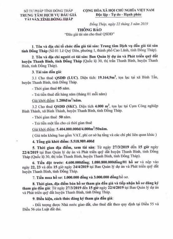 Ngày 25/4/2019, đấu giá quyền sử dụng đất tại huyện Thanh Bình, tỉnh Đồng Tháp - ảnh 1