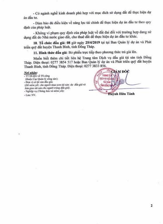 Ngày 25/4/2019, đấu giá quyền sử dụng đất tại huyện Thanh Bình, tỉnh Đồng Tháp - ảnh 2