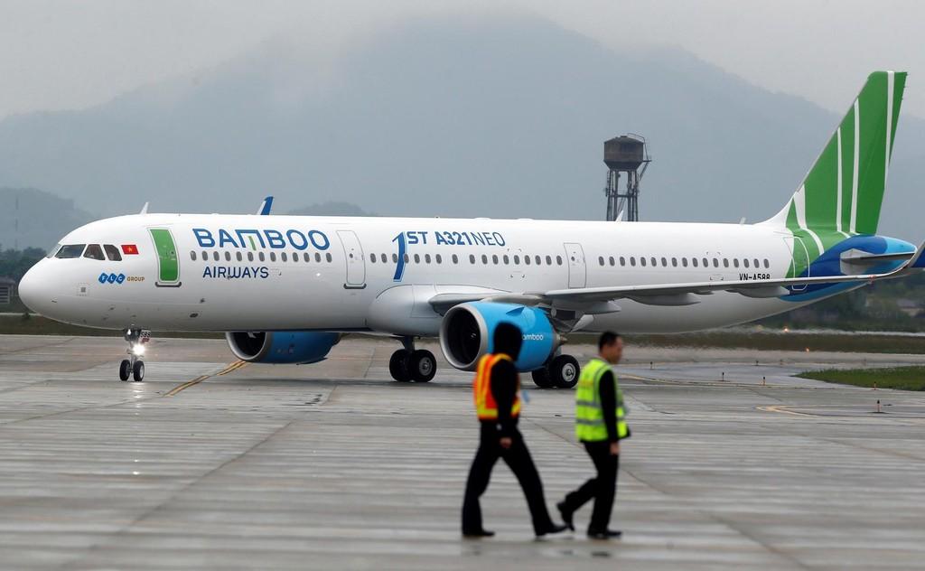 Máy bay Airbus A321 Neo của Bamboo Airways tại cảng Hàng không Quốc tế Nội Bài