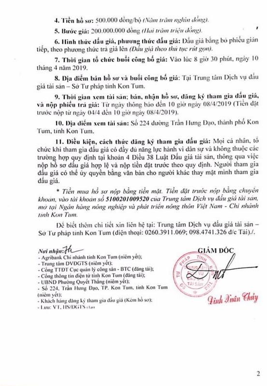 Ngày 10/4/2019, đấu giá quyền sử dụng đất và tài sản gắn liền với đất tại thành phố Kon Tum, tỉnh Kon Tum - ảnh 2