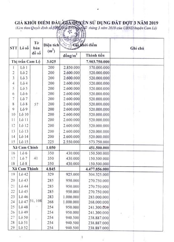 Ngày 19/4/2019, đấu giá quyền sử dụng đất tại huyện Cam Lộ, tỉnh Quảng Trị - ảnh 2