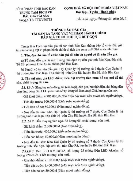 Ngày 5/4/2019, đấu giá tang vật vi phạm hành chính tịch thu sung quỹ Nhà nước tại tỉnh Bắc Kạn - ảnh 1