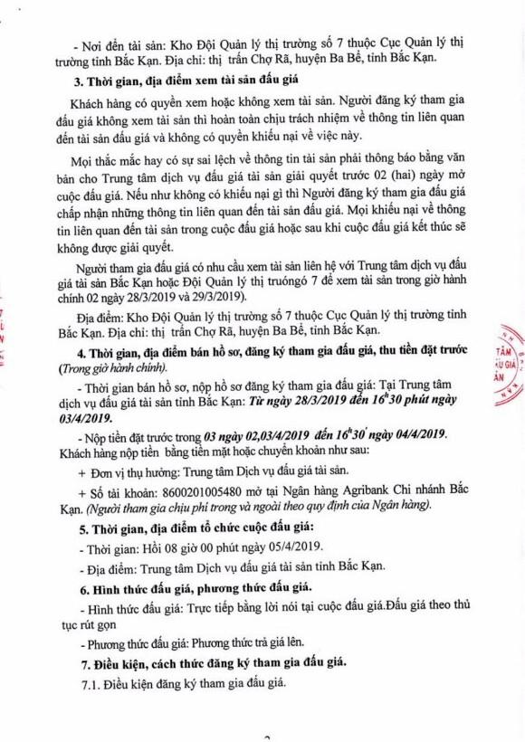 Ngày 5/4/2019, đấu giá tang vật vi phạm hành chính tịch thu sung quỹ Nhà nước tại tỉnh Bắc Kạn - ảnh 2