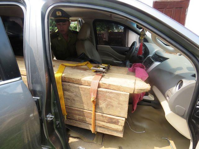 Quảng Bình: Bắt xe bán tải lắp biển giả, vận chuyển gỗ lậu - ảnh 2