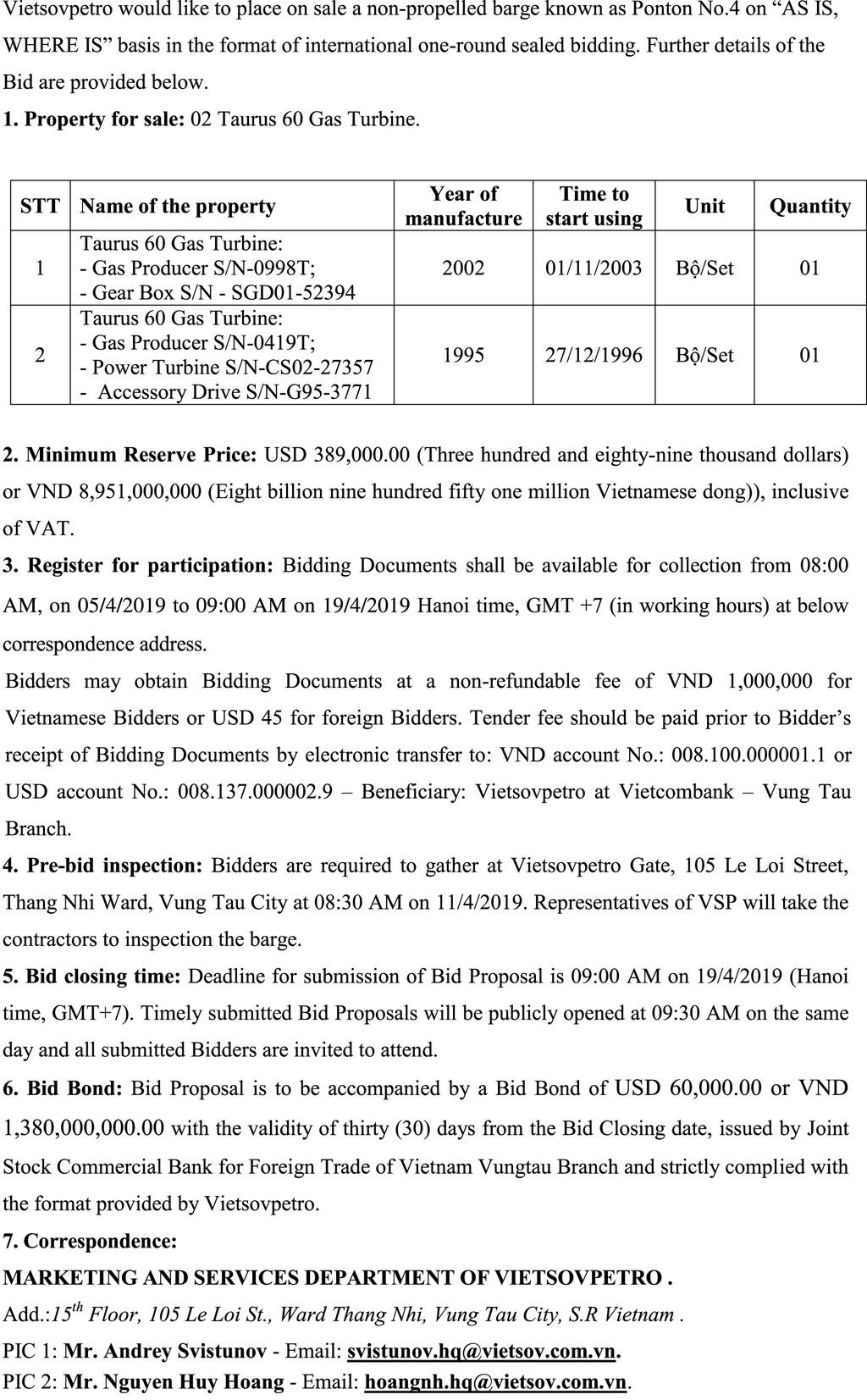 Ngày 19/4/2019, đấu giá 2 Taurus 60 Gas Turbine thanh lý tại tỉnh Bà Rịa Vũng Tàu - ảnh 2