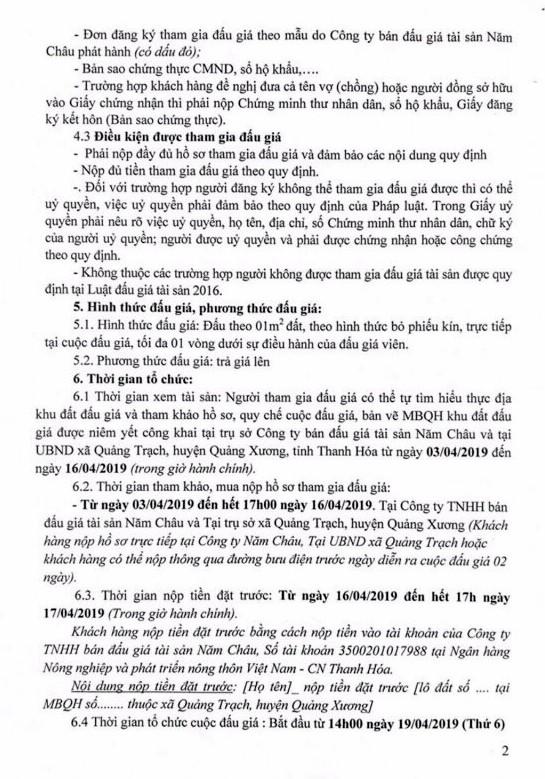 Ngày 19/4/2019, đấu giá quyền sử dụng đất tại huyện Quảng Xương, tỉnh Thanh Hóa - ảnh 2