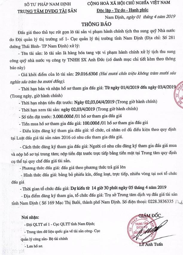 Ngày 5/4/2019, đấu giá hàng hóa tang vật vi phạm hành chính tại tỉnh Nam Định - ảnh 1