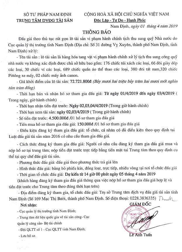 Ngày 5/4/2019, đấu giá hàng hóa tang vật vi phạm hành chính tịch thu sung quỹ tại tỉnh Nam Định - ảnh 1