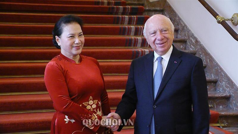 Chủ tịch Quốc hội Nguyễn Thị Kim Ngân hội kiến Chủ tịch Thượng viện Vương quốc Bỉ Jacques Brotchi.