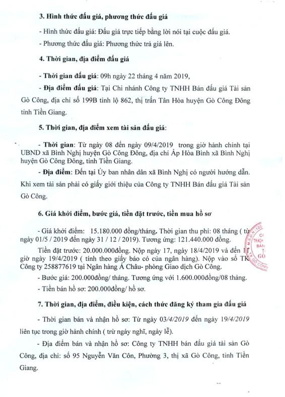 Ngày 22/4/2019, đấu giá quyền thu phí dịch vụ diện tích bán hàng tại chợ Bình Nghị (tỉnh Tiền Giang) - ảnh 2