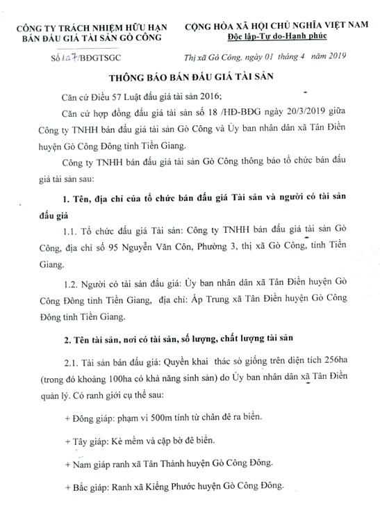 Ngày 22/4/2019, đấu giá quyền khai thác sò giống tại tỉnh Tiền Giang - ảnh 1