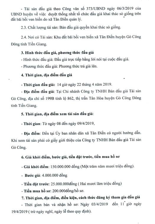 Ngày 22/4/2019, đấu giá quyền khai thác sò giống tại tỉnh Tiền Giang - ảnh 2