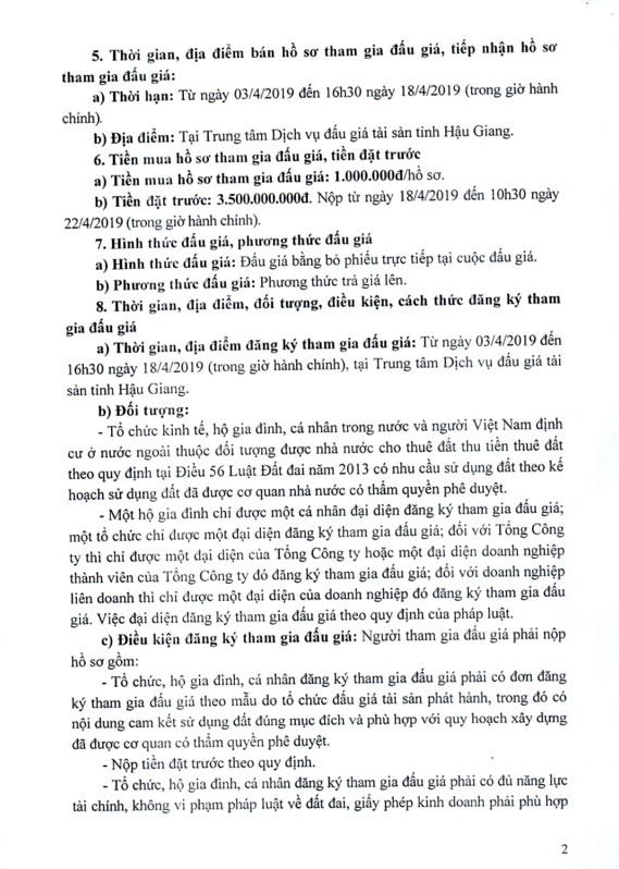 Ngày 23/4/2019, đấu giá quyền sử dụng đất đất tại thành phố Vị Thanh, tỉnh Hậu Giang - ảnh 2