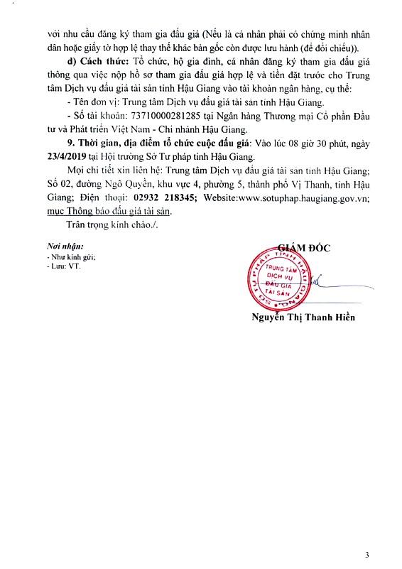 Ngày 23/4/2019, đấu giá quyền sử dụng đất đất tại thành phố Vị Thanh, tỉnh Hậu Giang - ảnh 3