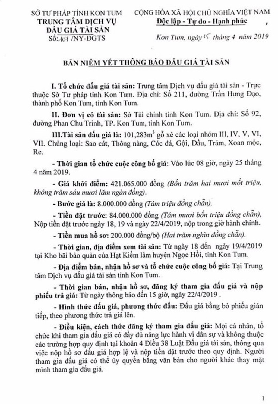 Ngày 25/4/2019, đấu giá 101,283 m3 gỗ xẻ tại tỉnh Kon Tum - ảnh 1