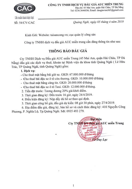 Ngày 27/4/2019, đấu giá các dịch vụ thuê khoán tại Bệnh viện đa khoa tỉnh Quảng Ngãi - ảnh 1