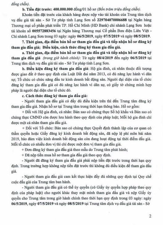 Ngày 9/5/2019, đấu giá quyền sử dụng đất tại TP. Lạng Sơn, tỉnh Lạng Sơn - ảnh 2
