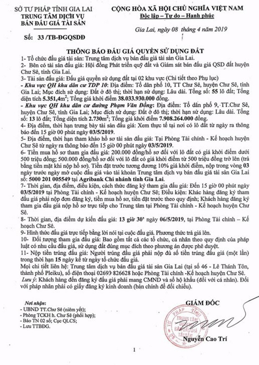 Ngày 6/5/2019, đấu giá quyền sử dụng đất tại huyện Chư Sê, tỉnh Gia Lai - ảnh 1
