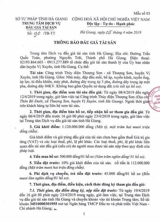 Ngày 26/4/2019, đấu giá công trình thủy điện Thượng Sơn tại huyện Vị Xuyên, tỉnh Hà Giang - ảnh 1