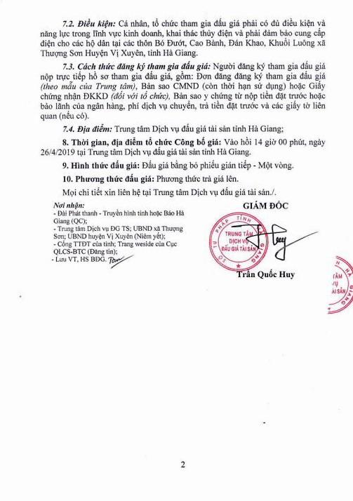 Ngày 26/4/2019, đấu giá công trình thủy điện Thượng Sơn tại huyện Vị Xuyên, tỉnh Hà Giang - ảnh 2