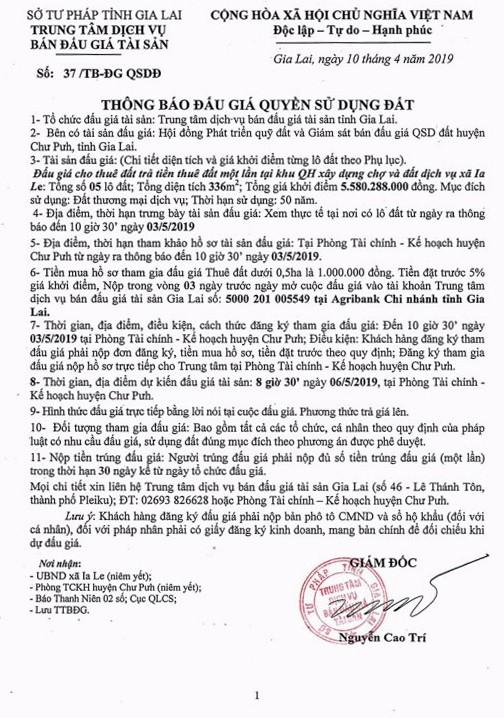 Ngày 6/5/2019, đấu giá quyền sử dụng 5 lô đất tại huyện Chư Pưh, tỉnh Gia Lai - ảnh 1