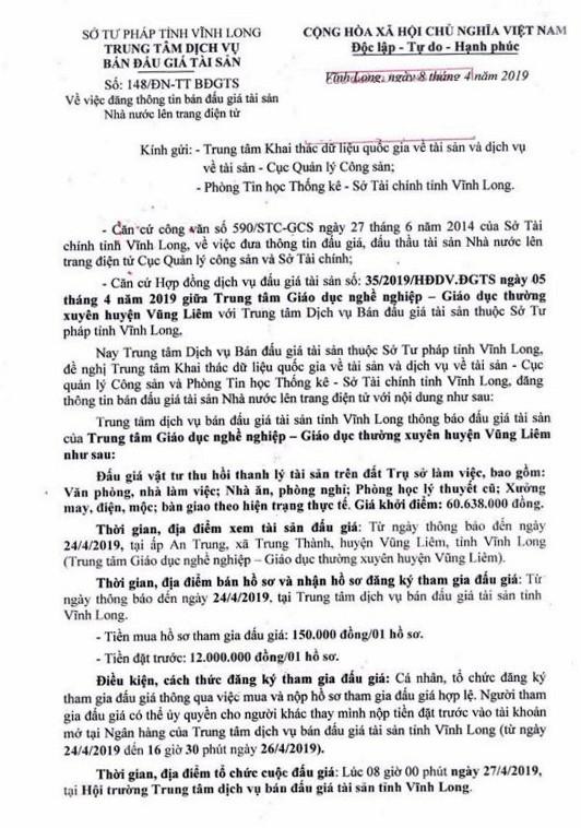 Ngày 27/4/2019, đấu giá vật tư thu hồi thanh lý tài sản tại tỉnh Vĩnh Long - ảnh 1