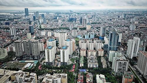 Một góc Hà Nội nhìn từ trên cao.