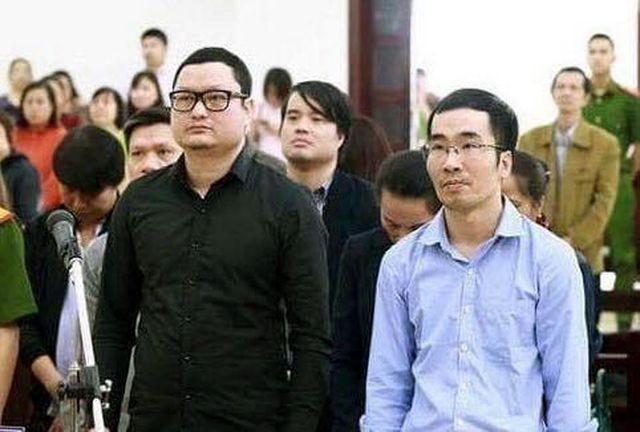 Các bị cáo tại phiên tòa sơ thẩm lần 1.