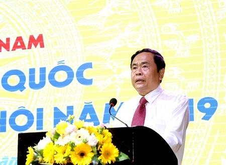 Bí thư TƯ Đảng, Chủ tịch UBTƯ MTTQ Việt Nam Trần Thanh Mẫn phát biểu chỉ đạo Hội nghị. Ảnh: Diệp Anh