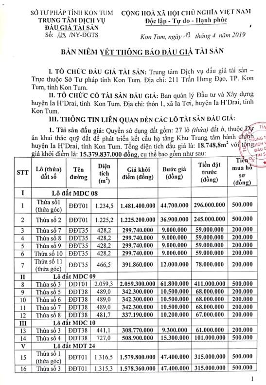 Ngày 16/5/2019, đấu giá quyền sử dụng đất tại huyện Ia H'Drai, tỉnh Kon Tum - ảnh 1