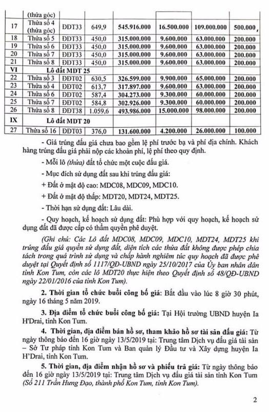 Ngày 16/5/2019, đấu giá quyền sử dụng đất tại huyện Ia H'Drai, tỉnh Kon Tum - ảnh 2
