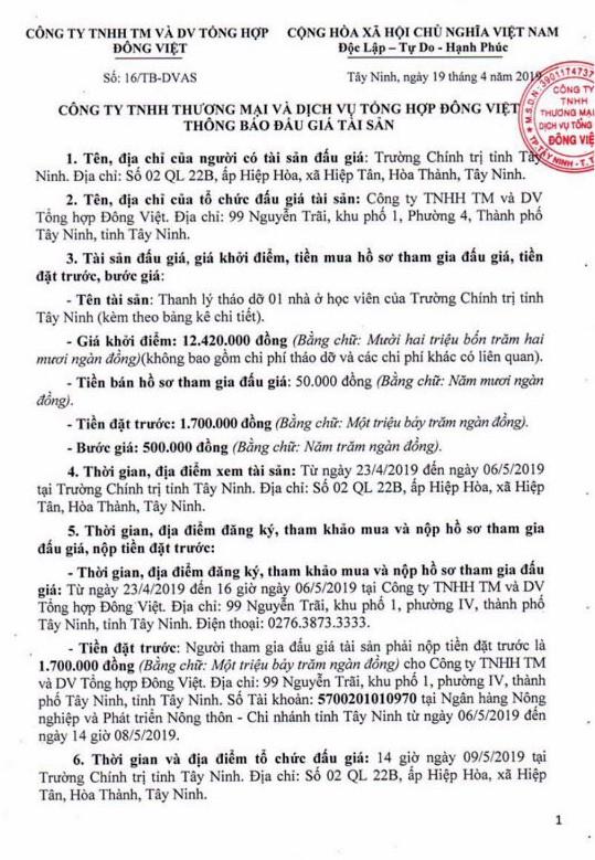 Ngày 9/5/2019, đấu giá thanh lý vật liệu tháo dỡ tại tỉnh Tây Ninh - ảnh 1
