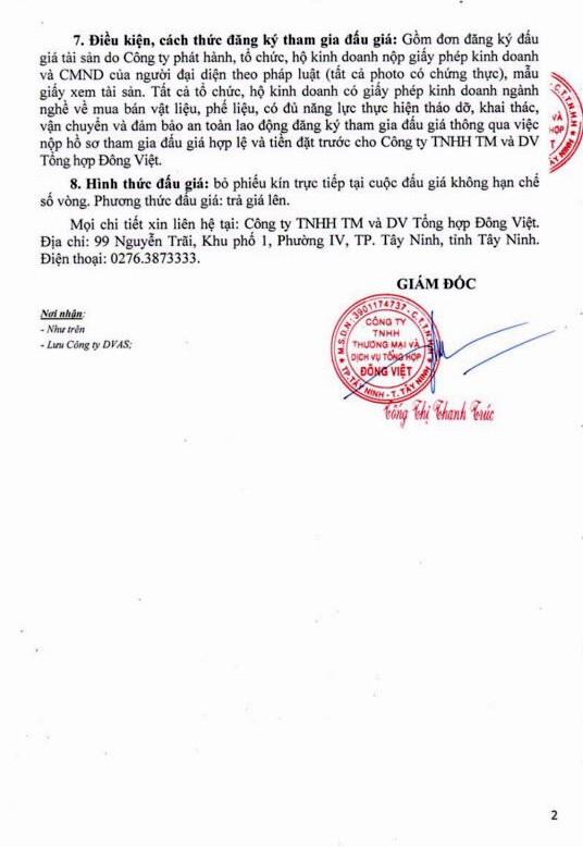 Ngày 9/5/2019, đấu giá thanh lý vật liệu tháo dỡ tại tỉnh Tây Ninh - ảnh 2