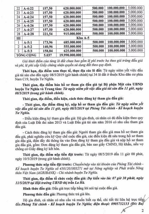 Ngày 11/5/2019, đấu giá quyền sử dụng 34 lô đất tại huyện Tư Nghĩa, tỉnh Quảng Ngãi - ảnh 2