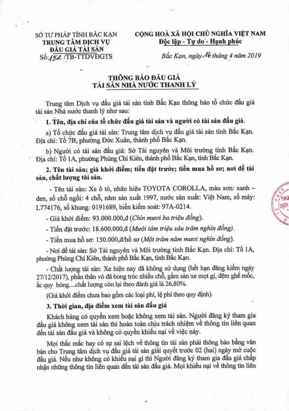 Ngày 9/5/2019, đấu giá xe ô tô tại tỉnh Bắc Kạn - ảnh 1