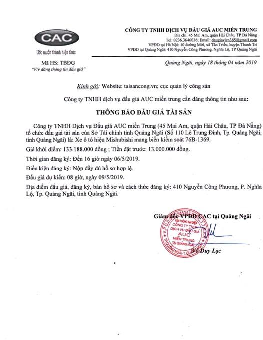 Ngày 9/5/2019, đấu giá xe ô tô Mishubishi tại tỉnh Quảng Ngãi - ảnh 1
