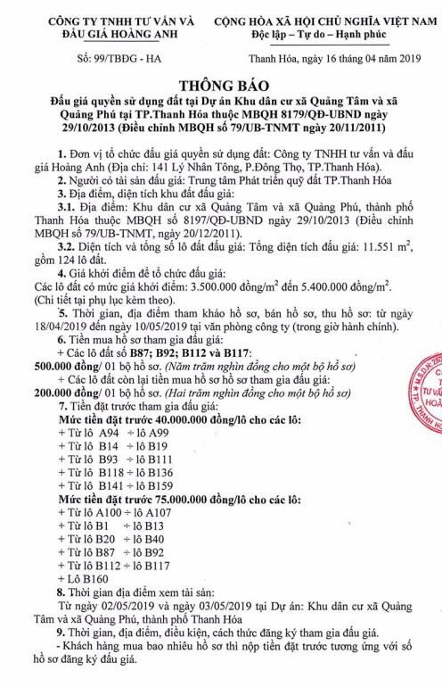 Ngày 13/5/2019, đấu giá quyền sử dụng đất tại thành phố Thanh Hóa, tỉnh Thanh Hóa - ảnh 1
