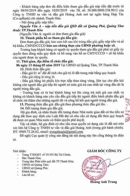 Ngày 13/5/2019, đấu giá quyền sử dụng đất tại thành phố Thanh Hóa, tỉnh Thanh Hóa - ảnh 2