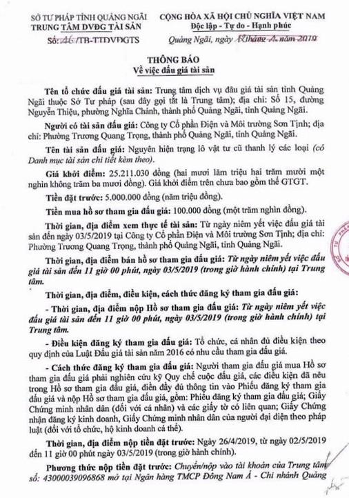 Ngày 6/5/2019, đấu giá lô vật tư cũ thanh lý tại tỉnh Quảng Ngãi - ảnh 1