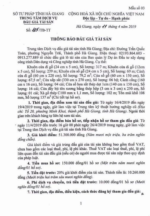 Ngày 4/5/2019, đấu giá vật tư, vật liệu tại tỉnh Hà Giang - ảnh 1