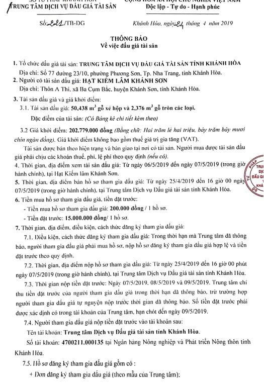 Ngày 10/5/2019, đấu giá 50,438 m3 gỗ xẻ hộp và 2,376 m3 gỗ tròn các loại tại tỉnh Khánh Hòa - ảnh 1